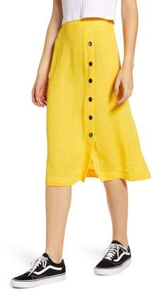 BP Floral Side Button Midi Skirt
