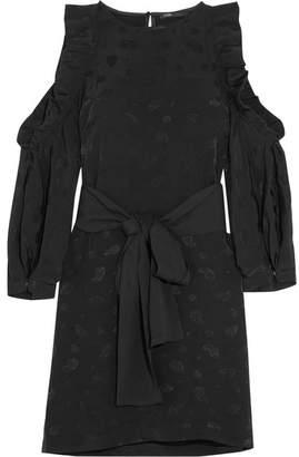 Maje Cold-shoulder Ruffled Paisley-jacquard Satin Mini Dress - Black