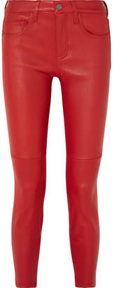 Current/Elliott The Stiletto Leather Skinny Pants - Red