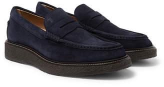 Tod's Suede Penny Loafers - Navy