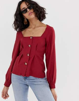 Asos Design DESIGN square neck button through long sleeve top with pleat detail