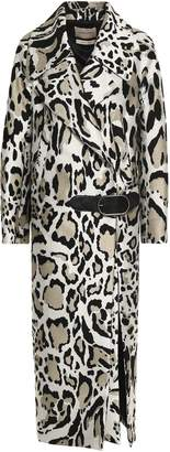 Roberto Cavalli Leather-trimmed Printed Felt Trench Coat