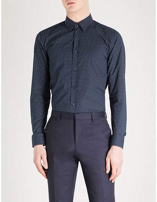 HUGO Slim-fit fleck pattern cotton shirt
