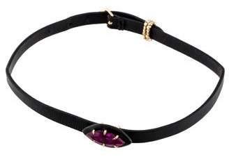 Alexis Bittar Crystal & Enamel Leather Wrap Bracelet & Choker Necklace