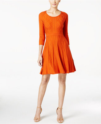 Calvin Klein Intarsia Fit & Flare Sweater Dress $134 thestylecure.com