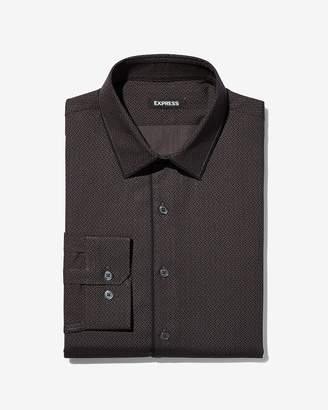 Express Slim Piped Print Dress Shirt