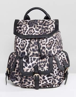 Yoki Fashion Yoki Leopard Backpack With Front Pocket Detail