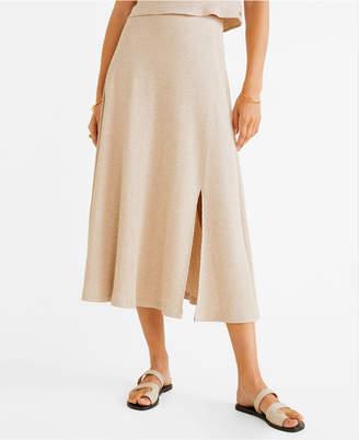 MANGO Ribbed Midi Skirt