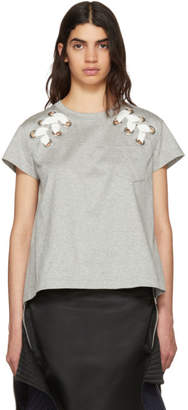 Sacai Grey Lace-Up T-Shirt