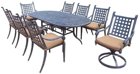 Oakland Living Corporation Sunbrella Aluminum Outdoor Patio Dining Set (9 Piece Set)
