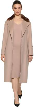 Marina Rinaldi Double Wool Coat W/ Mink Fur Collar