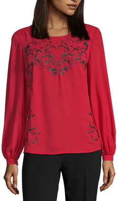 WORTHINGTON Worthington Womens Round Neck Long Sleeve Blouse