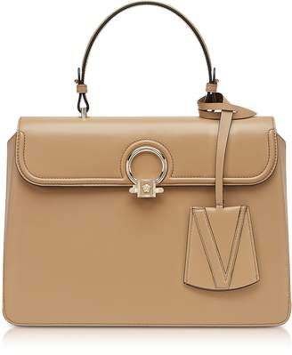 Versace Beige Leather Large DV One Top Handle Bag