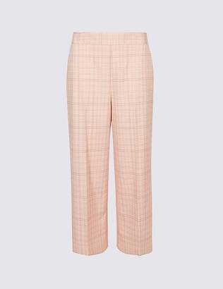 Marks and Spencer Checked Cropped Wide Leg Trousers