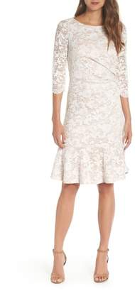 Eliza J Ruffle Hem Lace Sheath Dress