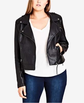 City Chic Trendy Plus Size Biker Jacket
