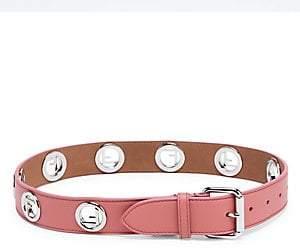 Fendi Women's Silvertone Logo Leather Belt