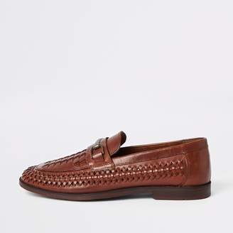 99dbf5ae977 River Island Mens Brown leather woven loafers