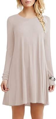 OMZIN Summer Solid Knee Length Tunic T-Shirt Dress Women ,XL