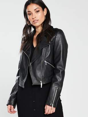 Karen Millen Cropped Leather Biker Jacket - Black