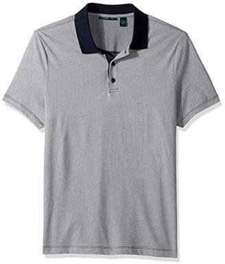Perry Ellis Men's Geometric Herringbone Pattern 3 Button Polo Shirt