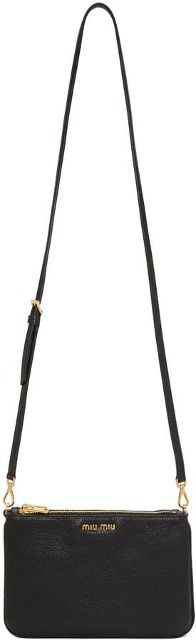 Miu MiuMiu Miu Black Double Zip Shoulder Bag