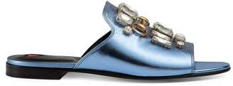 Metallic leather slide with crystals $795 thestylecure.com