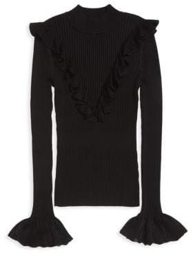 Scripted Ruffle Mockneck Sweater