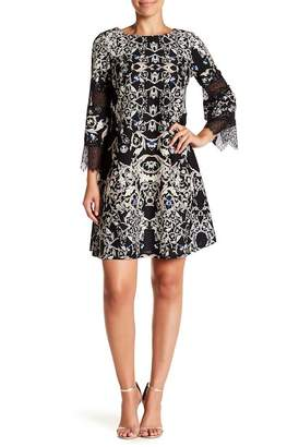 Gabby Skye Printed 3/4 Lace Inset Sleeve A-Line Dress