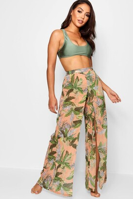 boohoo Tropical Split Leg Beach Trouser