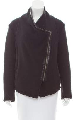 BB Dakota Faux Leather-Trimmed Asymmetrical Jacket