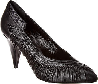 Celine Triangle Heel Leather & Snakeskin Pump
