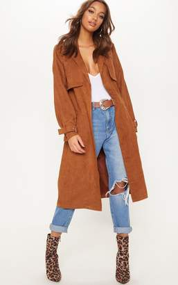 PrettyLittleThing Brown Faux Suede Trench