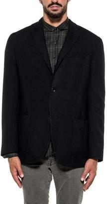 Boglioli Black/blue Micro Pied De Poule Wool Blazer