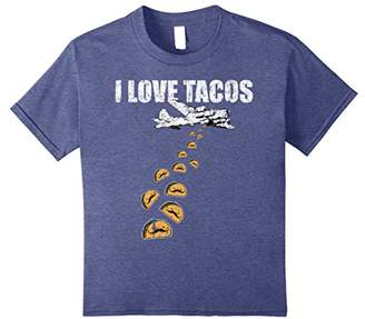 I Love Tacos Bomber Shirt with airplane and Tacos Distressed