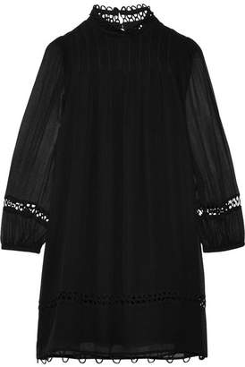 Apiece Apart La Sierra Pintucked Crinkled Silk-georgette Mini Dress - Black
