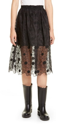 Simone Rocha Moncler Genius x 4 Floral Embroidered Silk Midi Skirt