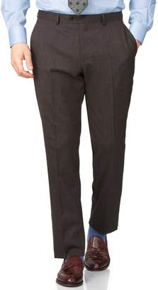 Charles Tyrwhitt Brown Slim Fit End-On-End Business Suit Wool Pants Size W32 L32