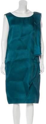 Oscar de la Renta Sleeveless Silk Scoop Neck Dress
