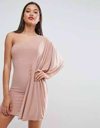Asos DESIGN Slinky One Shoulder Kimono Mini Dress