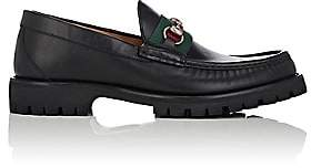 Gucci Men's Web-Striped Horse-Bit Leather Loafers - Black