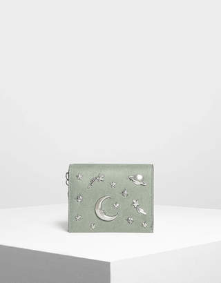 Charles & Keith Snap Button Galaxy Embellished Velvet Card Holder