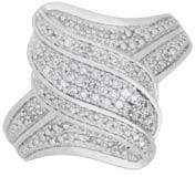 Lord & Taylor Diamond and Sterling Silver Wavy Ring