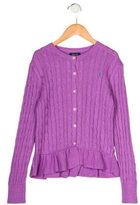 Polo Ralph Lauren Girls' Ruffle Cable Knit Cardigan w/ Tags
