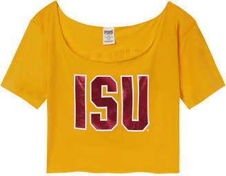 PINK Iowa State University Cutoff Raw Edge Neck Tee