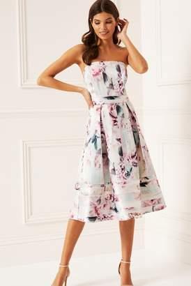 Next Lipsy Rosalie Print Structured Bandeau Prom Dress - 8