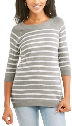 Thyme & Honey Women's 3/4 Sleeve Striped Tunic With Button Back