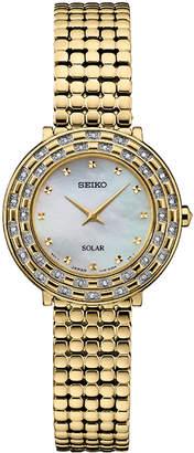 Seiko Women Solar Tressia Diamond-Accent Gold-Tone Stainless Steel Bracelet Watch 29mm