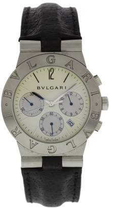 Bulgari Diagono CH 35 S Stainless Steel & Leather Quartz 35.5mm Mens Watch