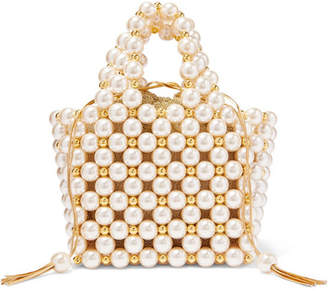 Vanina - Simi Small Faux Pearl And Gold-tone Beaded Tote - White